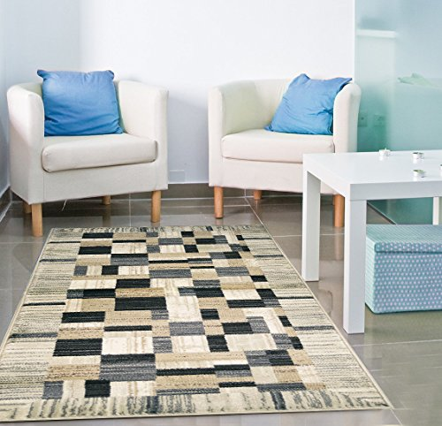 10' Grey Patch (Adgo Atlantic Collection Modern Abstract Geometric Rectangular Patchwork Soft Pile Contemporary Carpet Thick Plush Stain Fade Resistant Easy Clean Bedroom Living Room Floor Rug, Tan Grey, 8' x 10'1