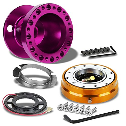 Purple Aluminum 6-Hole Steering Wheel Hub Adapter+Gold Quick Release For Acura 94-01 Integra DC2/Honda 92-95 Civic/93-97 Del Sol (Gold Hub)
