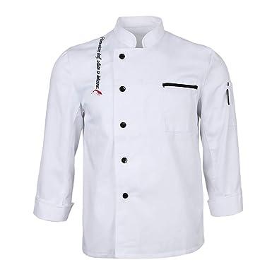 P Prettyia Chaqueta de Chef Unisex Traje de Camarero Trabajo de ...