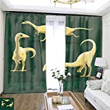 Rollup Window Dinosaur Compsognathus Cartoon Vector Illustration W108 x L81 Eliminate The Turf Highprecision Curtains for bedrooms Living Rooms Kitchens etc.