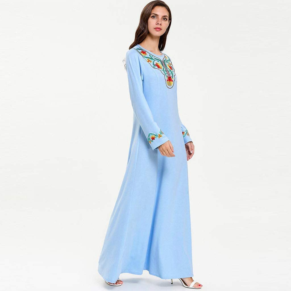 Lady Summer Embroidered Maxi Dress Abaya Islamic Dubai Kaftan Ramadan Middle Eastern National Long Sleeve Lace Dress lkoezi Women Muslim Robe