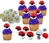 Pokemon Cupcake Toppers Poke Ball With Surprise Pokemon Toy Figure Hidden Inside And Pikachu Tattoos Set of 12
