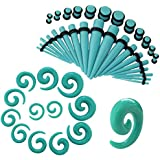 CrazyPiercing Turquoise Spiral Straight Taper Stretching Guages Kit Turquoise Acrylic Plug Kit 54 Pieces (54 pcs) (Turquoise)