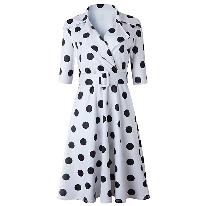 500 Vintage Style Dresses for Sale | Vintage Inspired Dresses SHUNWEI Womens 1950s Retro Polka dot Lapels Collar Large Swing Dress Cocktail Dress $29.99 AT vintagedancer.com