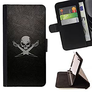 Momo Phone Case / Flip Funda de Cuero Case Cover - Leather Skull Flag Ship Mar Negro - Huawei Ascend P8 Lite (Not for Normal P8)