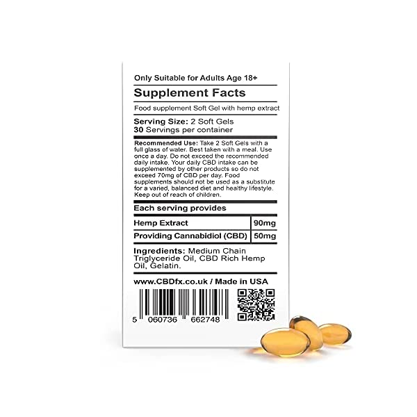 CBDfx Softgel CBD Capsules (60 Softgel Bottle) – 1500mg CBD