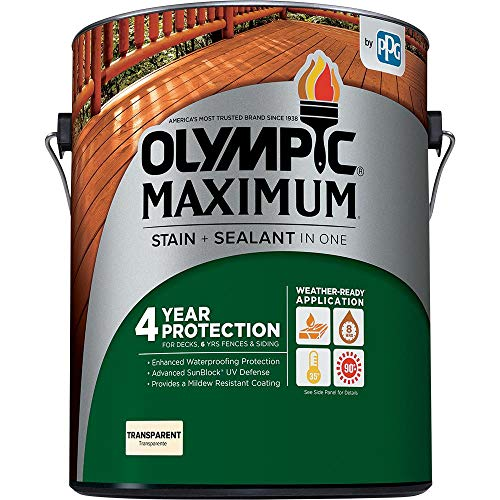 Decking Stain - Olympic Stain 56500-1 Maximum Waterproofing Sealant, 1 Gallon, Clear