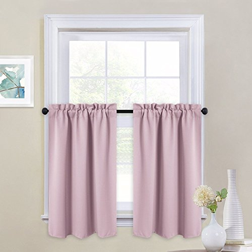 NICETOWN Half Window Curtains for Kitchen - Rod Pocket Tailored Tier/Valance/Cafe Curtains for Girl's Room (Lavender Pink=Baby Pink, 2 Pieces, W29 x L36 Inches Each Panel)