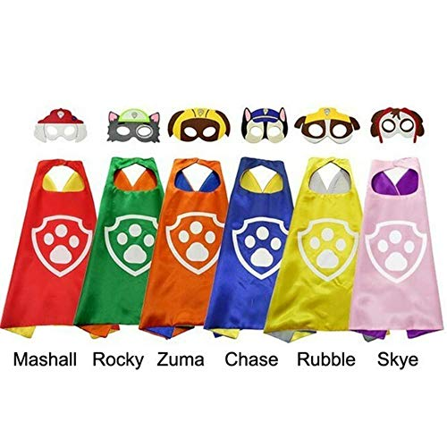 International Children's Day Cape and Mask Set Paw Patrol Costume Kids Cosplay Dog Paw Cape for Child Birthday Party]()