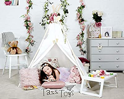 Kids Teepee Tent for Kids - With Fairy Lights - Feathers & Waterproof Base