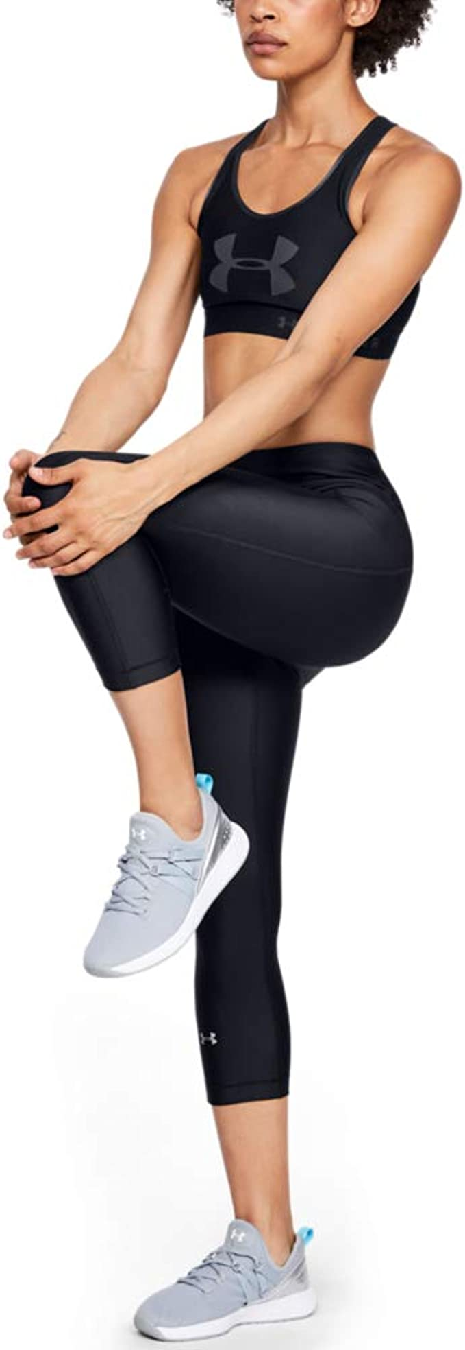 Under Armour HeatGear Womens 3//4 Tights Black Gym Running Sports Training Capri