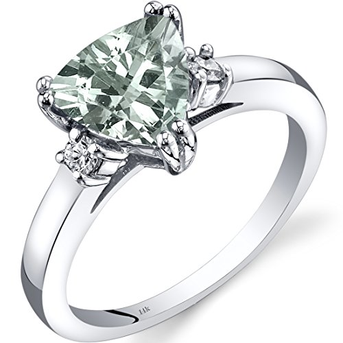 14K White Gold Green Amethyst Diamond Ring Trillion Cut 1.50 Carat
