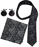 Peach Couture Men's Paisley Boho Style Necktie Cufflinks Pocket Square Handkerchief Set (Black/White)