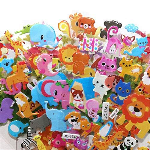 OBELLA BOUTIQUE 5 Sheets Cute 3D Cartoon Animal PVC Bubble Puffy Stickers Kids Girl Boy Dinosaurs Classic Toys School Teacher Reward