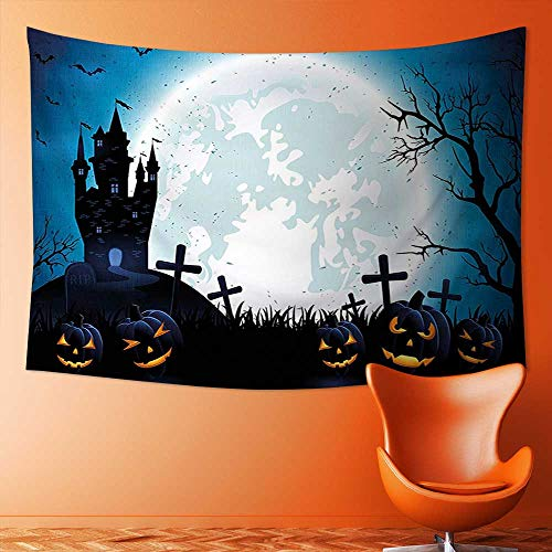 L-QN Wall Hanging Tapestries Wall Art Tapestries Wall Tapestries Spooky Concept with Halloween Icons Old Celtic Harvest Festival Figures in Dark Image Tapestry Dorm Decor -