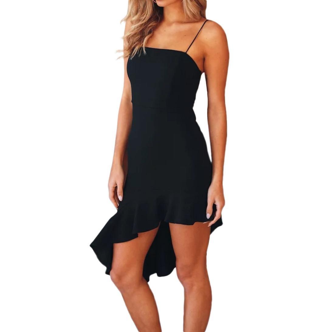 Minisoya Women Off Shouder Bodycon Club Mini Dress Casual Irregular Backless Evening Party Sling Dress Beach Sundress (Black, XL) by Minisoya
