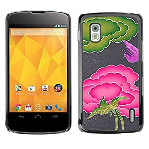 MOBMART Carcasa Funda Case Cover Armor Shell PARA LG Nexus 4 E960 - Pink And Green Birds And Clouds.