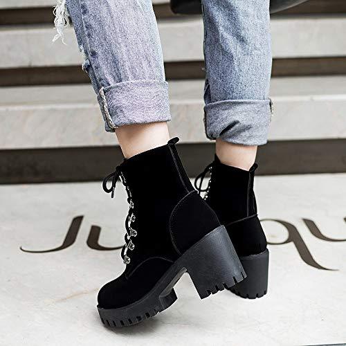Martin Dropship Moda Tobillo Zapatos Mujeres Mujer Cordones Pingxiannv Plataforma Con Negro Tacones Altos Botas f7FqwEnEgd