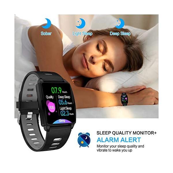 Reloj Inteligente, KINGLINK Smartwatch con Cronómetro Pulsera Inteligente Impermeable Monitor de sueño Pantalla Color Podómetro con Pulsómetro, Calorías IP68 para Android y iOS (Negro) 7