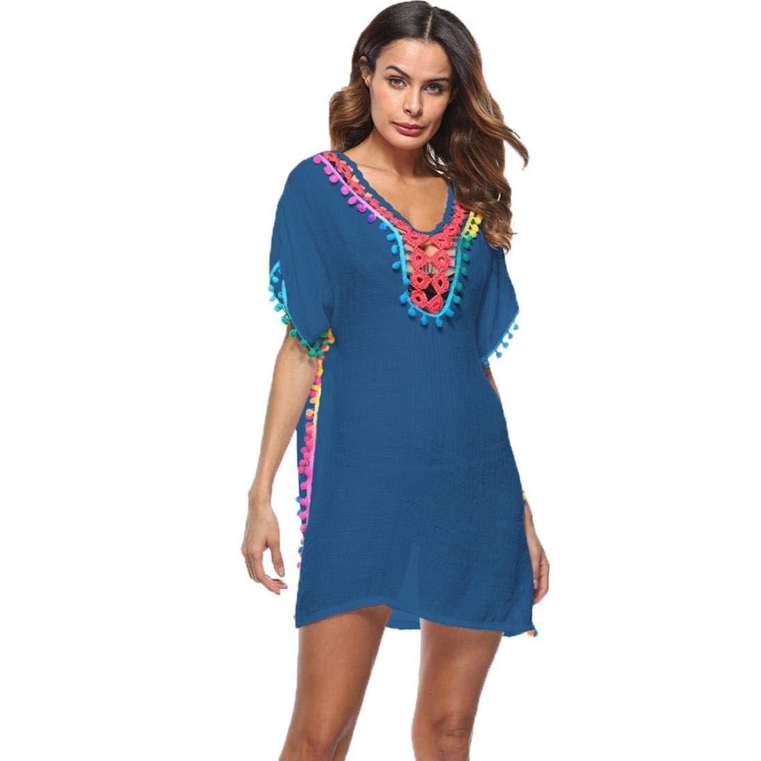 bluee Jianheads Women Tassel Swimsuit Bikini Stylish Beach Cover Up Sunscreen Shirt Bikini Smock Cover Up