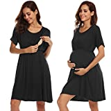 Ekouaer Womens Nursing Dress for Breastfeeding Maternity Nightgown for Hospital,Black,Large