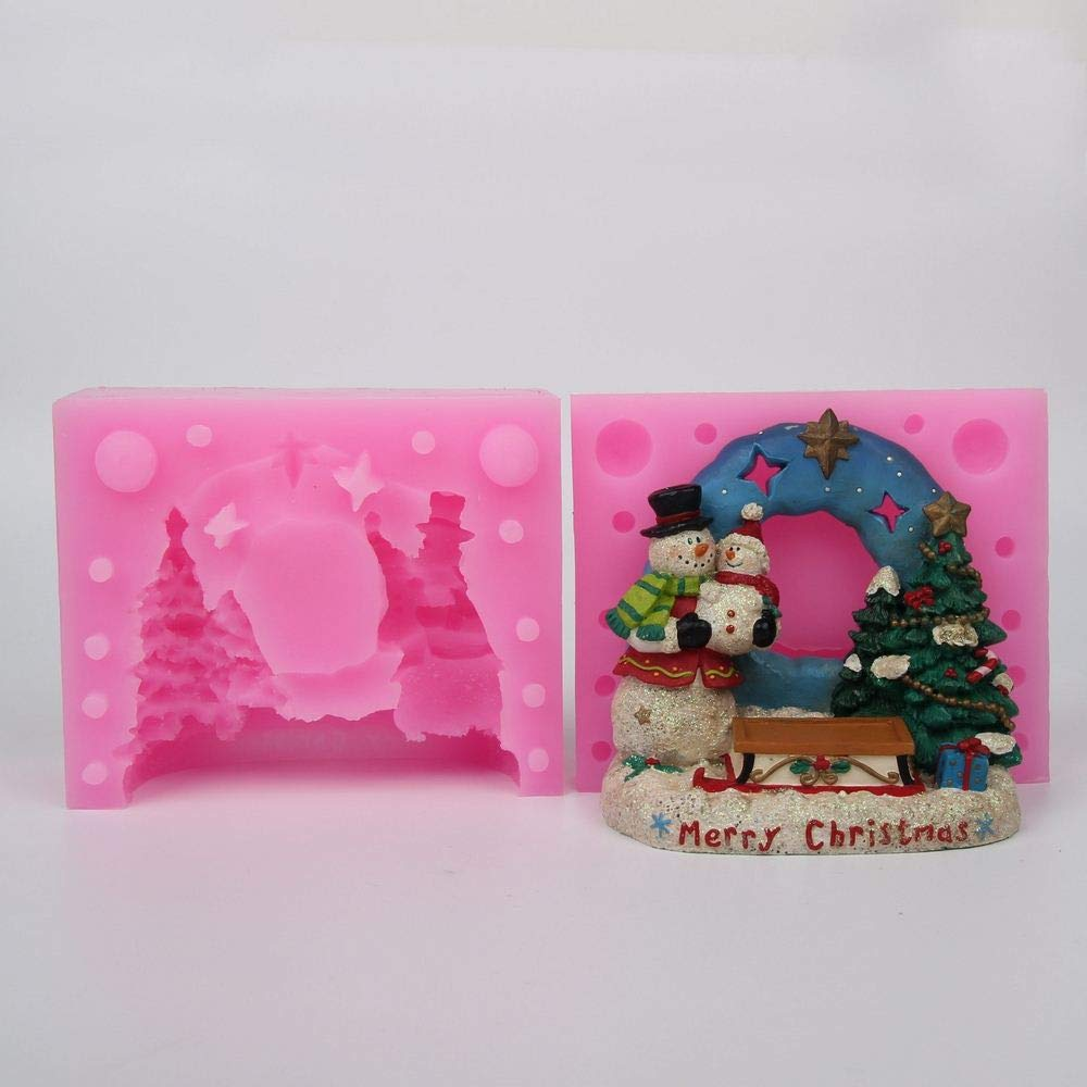 Santa Candle Christmas Tree Snowman 3D Santa Claus Silicone Mold Cake Decoration Candle Soap Clay Mould
