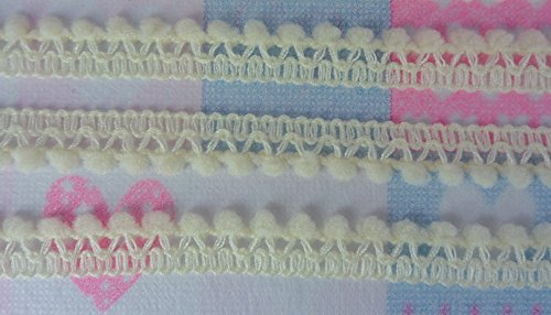 Light Cream Mini Pom Pom Ball Fringe Dangling Trim Lace Braid Embroidery DIY Craft Needlework 36 Yards