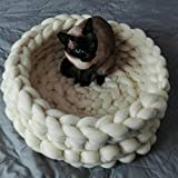 Chunky Crocheted Pet Bed Cozy Wool Pet Furniture Thick Knitted Pet Bed Dog Cat Cave Cat Nest Pet House 100% Handmade,Gift Idea (20 inch, White)