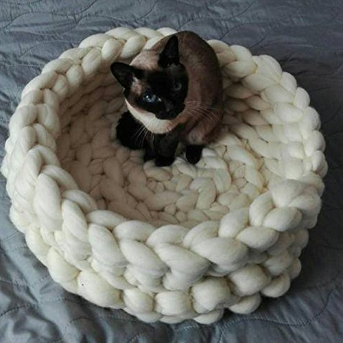 Chunky Crocheted Pet Bed Cozy Wool Pet Furniture Thick Knitted Pet Bed Dog Cat Cave Cat Nest Pet House 100% Handmade,Gift Idea (20 inch, White) ()