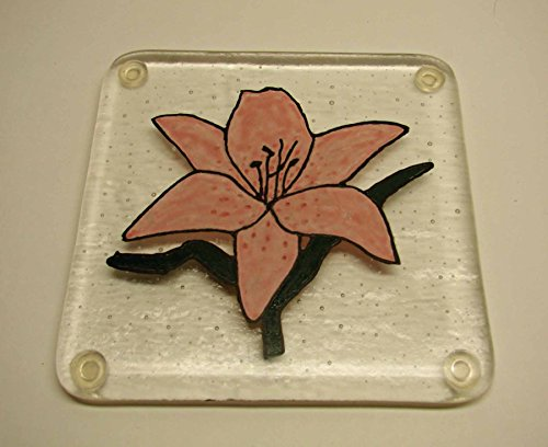 Handmade Painted Pink Stargazer Lily Fused Glass Trivet