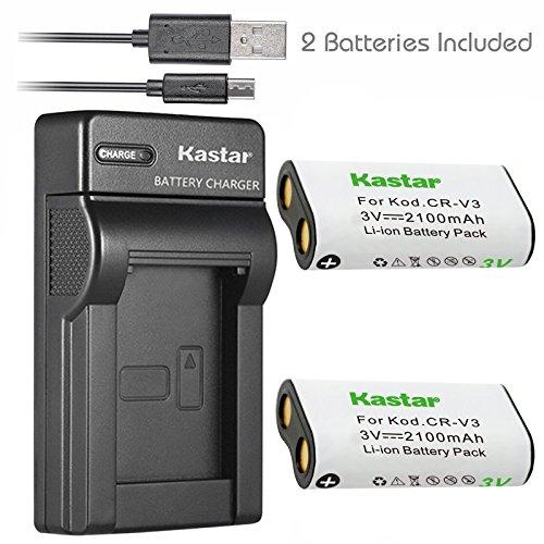 Kastar Battery (X2) & Slim USB Charger forr CR-V3 LB-01 and Olympus C3000 D565 D-100 D-150 D-230 D-370 D-380 D-390 D-40 D-460 D-490 D-520Z D-560Z, Kodark EasyShare C310 C530 C875 + More Camera (C310 Memory)