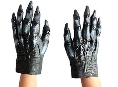 Halloween Dance Party Costumes (Halloween Dance Party Costume Gloves Adult Children Latex Monster Hands By October Elf (Wolf-Black))