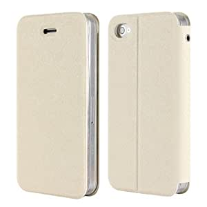 Beige New Luxury Leather Flip Case - Candy Case Stand Cover Pouch Sucker - Apple iPhone 4 4S