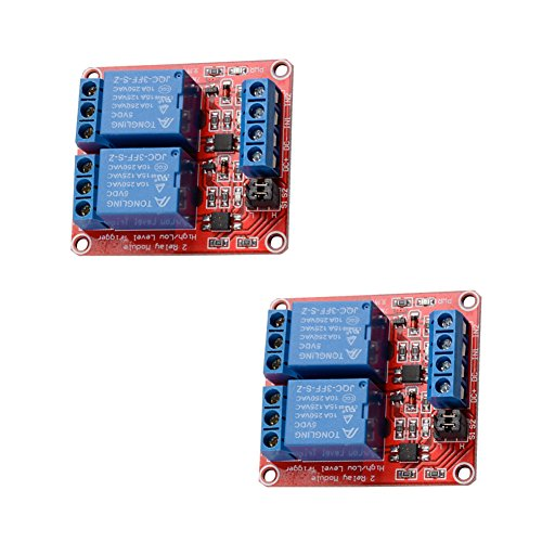 2 pcs 5V 2 Channel DC 5V Relay Module with Optocoupler High/Low Level Trigger Expansion Board for Arduino ()