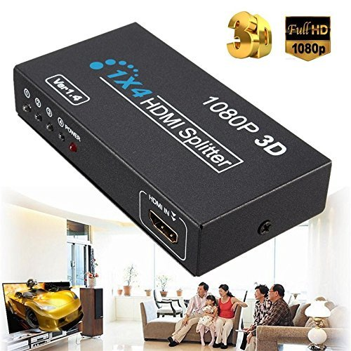 1 In 4 OUT HD 1080P 3D 1.4 HDMI Splitter Duplicator Amplifier Switch AC Adapter