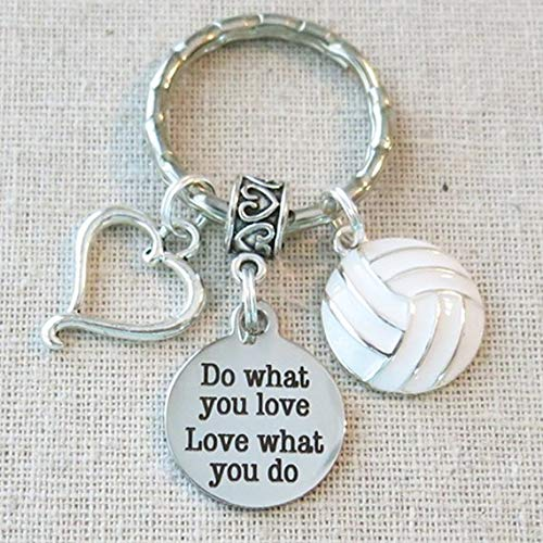 VOLLEYBALL Keychain, Do What You Love - Love What You Do Encouragement Gift, SENIOR Night Volleyball Grad Gift, Volleyball Team Coach Gifts