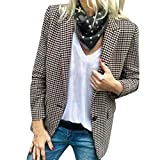 EraseSIZE Women's Autumn Winter Warm and Soft Casual Plaid Suit Blazer Coat Jacket Outwear Cardigan Work Coat
