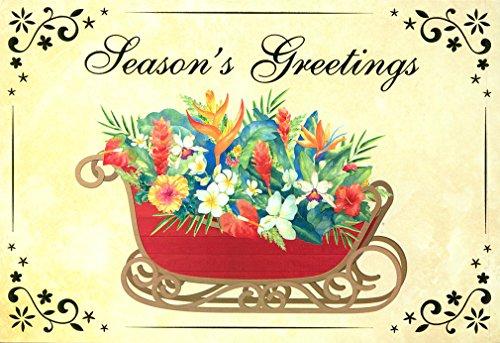 - Sleigh of Aloha Deluxe Hawaiian Floral Christmas Cards / 12