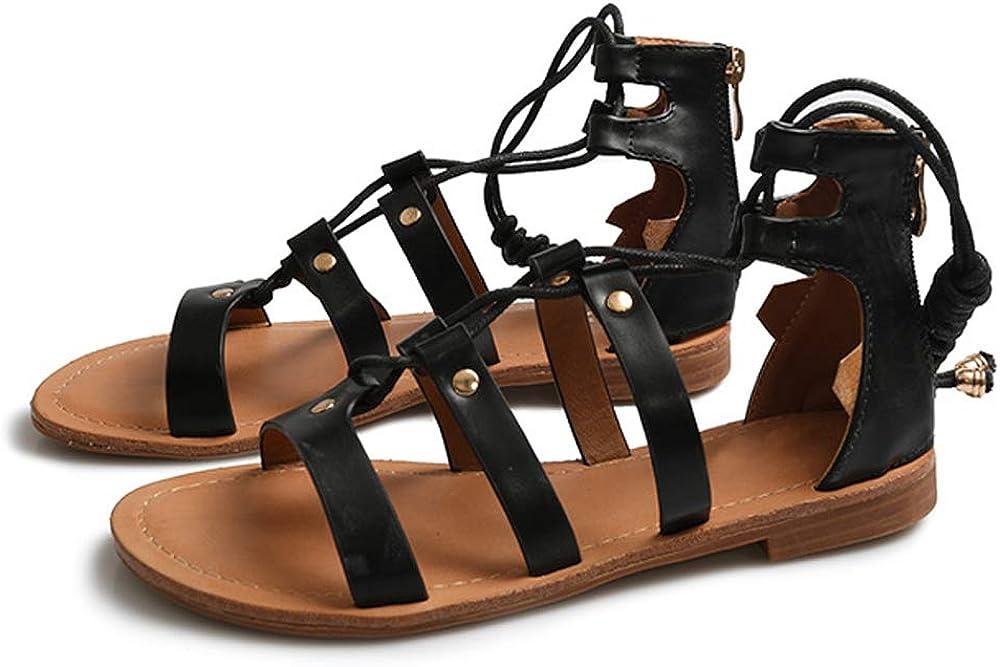LIURUIJIA Womens Open Toe Ankle Strap Gladiator Flat Sandals PDLX19-07