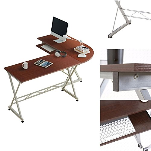 Modern L-Shaped Corner Brown Computer Wood Desk Laptop Table Workstation Executive Home Office Furniture by Heaven Tvcz