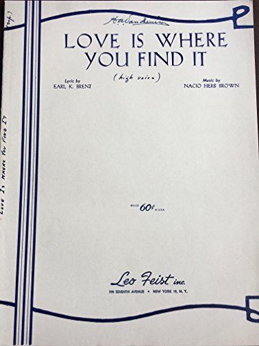 Earl Sheet Music - LOVE IS WHERE YOU FIND IT EARL BRENT 1946 SHEET MUSIC FOLDER 543