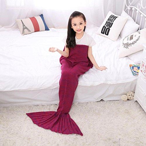 Becoler Mermaid's Tail Kids Blankets,Children's lovely Super Soft All Seasons Bed Blankets Sofa Blankets Sleeping Bags (rose red)