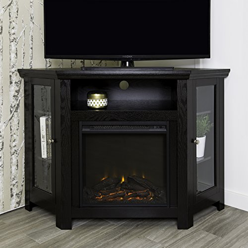 WE Furniture 48' Corner TV Stand Fireplace Console, Black