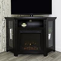 WE Furniture 48 Corner TV Stand Fireplace Console, Black