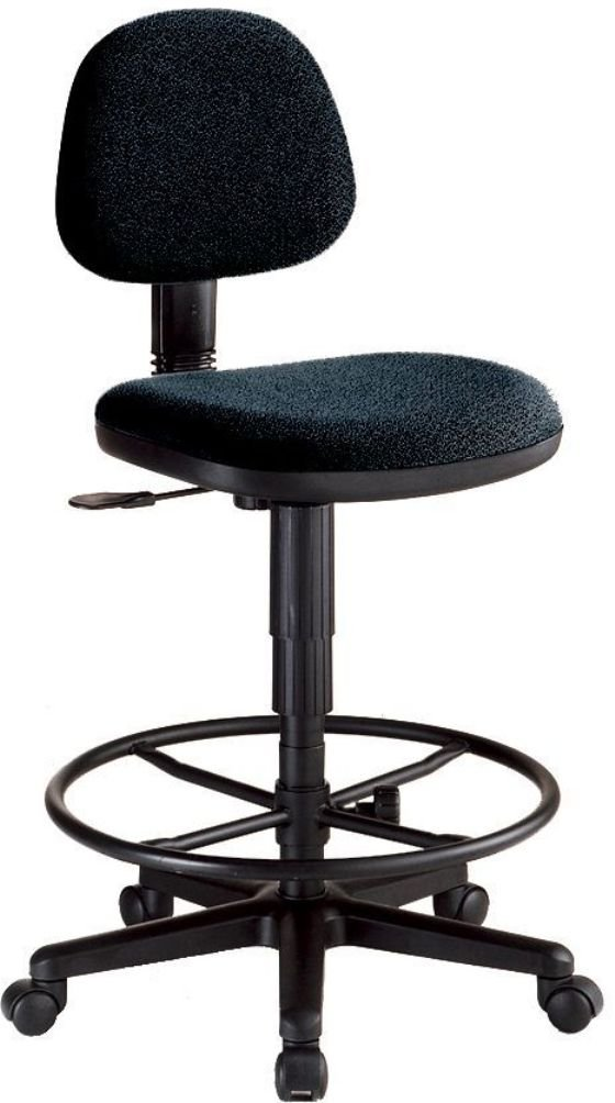 Alvin CH277-40DH Black Comfort Economy Drafting Height Task Chair; Quality design at an affordable price, these chairs are ideal for home, office, study, or shop