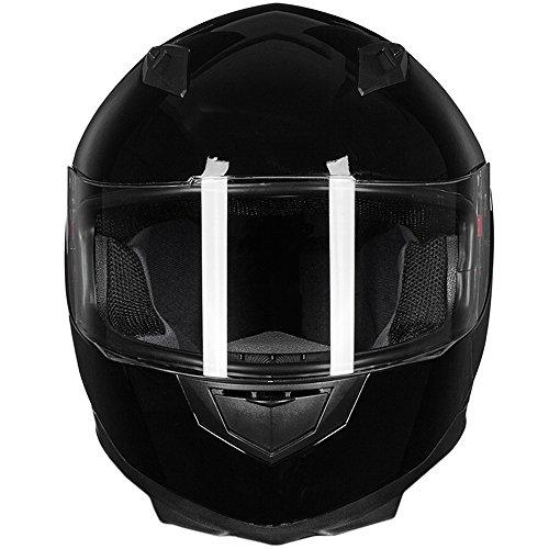 ILM Full Face Motorcycle Street Bike Helmet with Removable Winter Neck Scarf + 2 Visors DOT (M, Gloss Black)