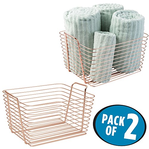 mDesign Storage Basket Bin with Built-in Handles for Organizing Hand Soaps, Body Wash, Shampoos, Lotion, Conditioners, Hand Towels, Hair Accessories, Body Spray, Mouthwash � Large, Pack of 2, Copper (Hanging Baskets Copper)