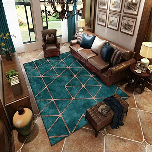 American Style Luxury Living Room Carpet Turquoise Color Golden Geometric Pattern Modern Green Carpet Sitting Large Rug Green S Amazon Ca Home Kitchen