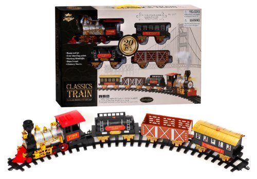 20 PCS B/O Classic Toy Railway Train Set with Light and Smoke, Huge Size with 12 PCS Curved Track & 4 PCS Straight - Huge Train