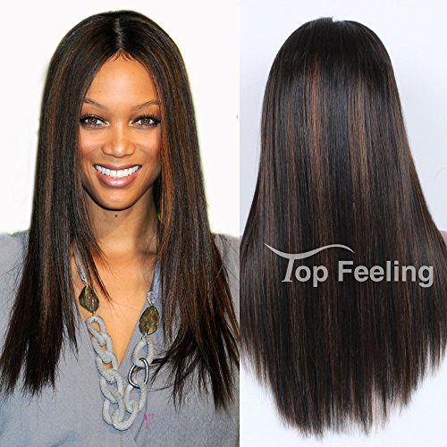 TopFeeling Ombre Brazilian Hair Glueless Lace Front Human Hair Wigs Straight Hair Wigs For Black Women Ombre Human Hair Wig #1b/30 Highlight Color ()